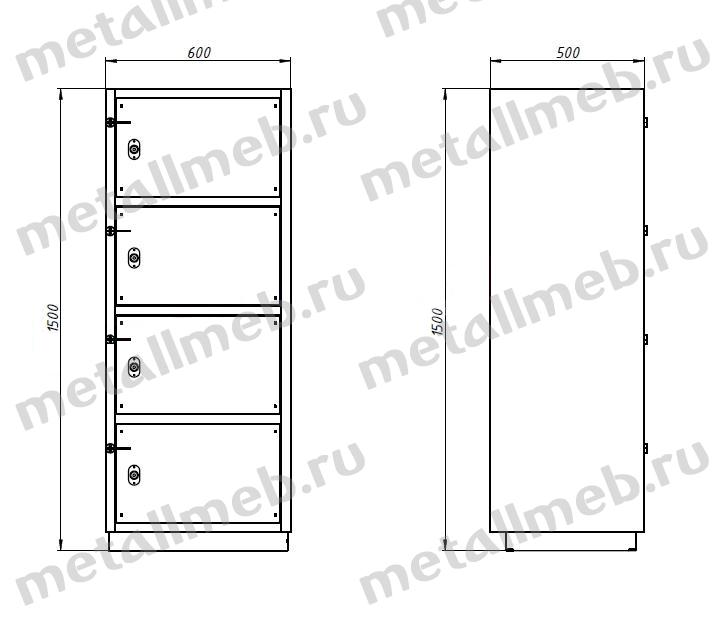 Шкаф металлический четырехъячеечный