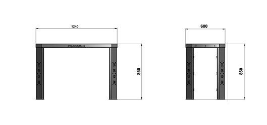 Чертеж слесарного стола длиной 1240 мм без экрана