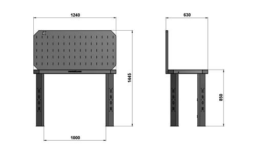 Чертеж слесарного стола длиной 1240 мм с экраном
