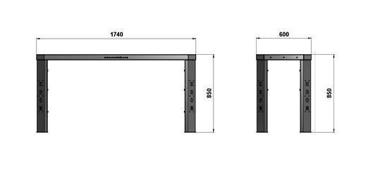 Чертеж слесарного стола длиной 1740 мм без экрана