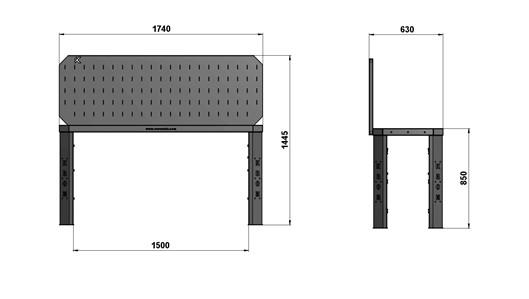 Чертеж слесарного стола длиной 1740 мм с экраном
