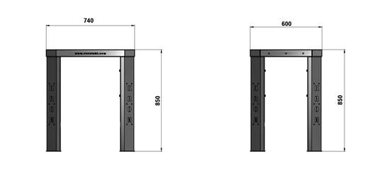 Чертеж слесарного стола длиной 740 мм без экрана