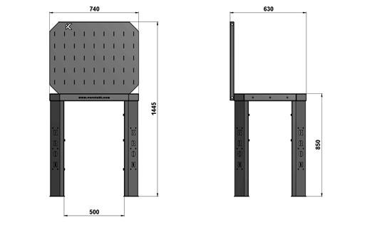 Чертеж слесарного стола длиной 740 мм с экраном