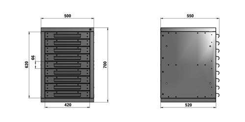 Чертеж тумбы длиной 500 мм с 9 выдвижными ящиками