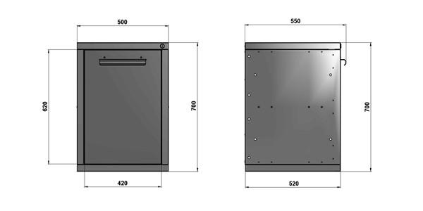 Чертеж тумбы стола для слесарных работ длиной 500 мм