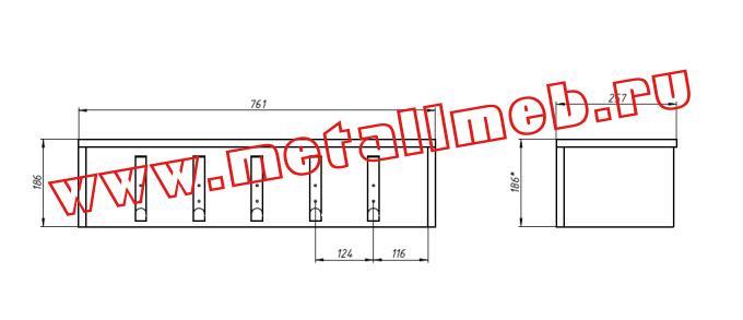 Вешалка настенная на 5 крючков с полкой для головных уборов чертеж