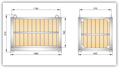 Габаритный чертеж поддона (контейнера для хранения) ГОСТ 21133-87 Чертеж 2 (УКС-ПЯ-2)