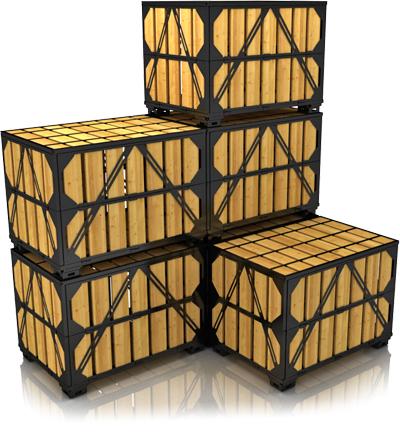 Складирование поддонов ящичных (контейнеров для хранения) УКС-ПЯ-7 в собранном виде