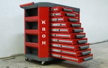Инструментальная тележка УКС.ТИ-21 с 10 открытыми выдвижными ящиками левой секции