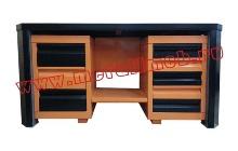 Двухтумбовый слесарный стол с открытыми ящиками (вид спереди)
