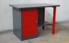 Металлический стол с тумбой и нижней полкой