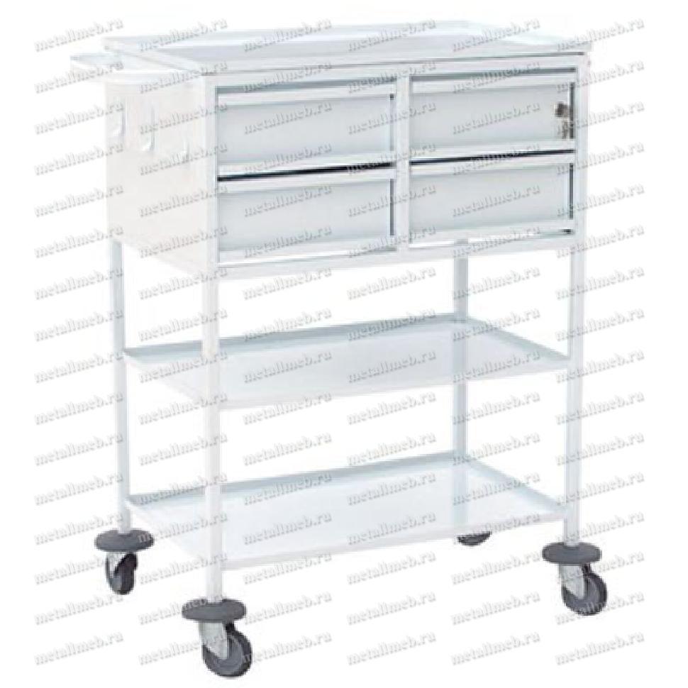 Стол-тележка с 4-мя ящиками для перевязочной